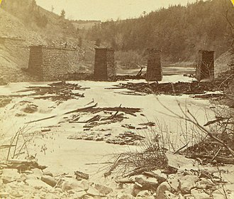 Portage Viaduct - Ruins of the Old Portage Bridge, 1875