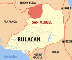 Map of Bulacan showing the location of San Miguel