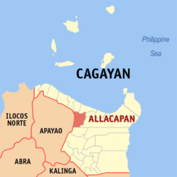 Map of Cagayan showing the location of Allacapan