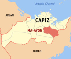 Map of Capiz with Maayon highlighted