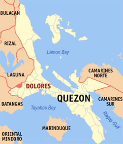 Map of Quezon showing the location of Dolores