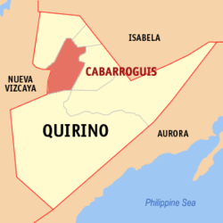 Map of Quirino showing the location of Cabarroguis