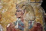 Pharaoh Seti I, detail of a wall painting from the Tomb of Seti I at the Valley of the Kings, Western Thebes, Egypt. Neues Museum.jpg