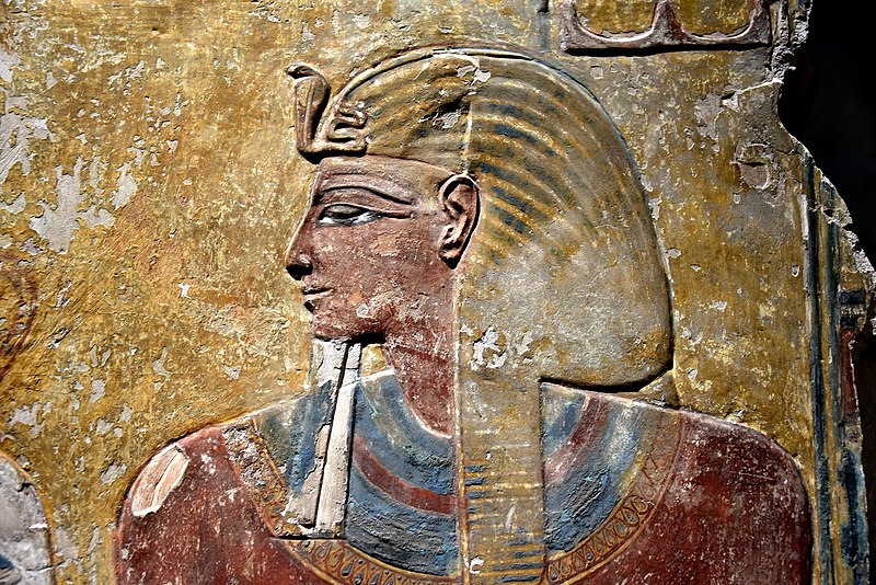 File:Pharaoh Seti I, detail of a wall painting from the Tomb of Seti I at the Valley of the Kings, Western Thebes, Egypt. Neues Museum.jpg