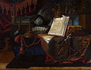 Still life with armor and books.