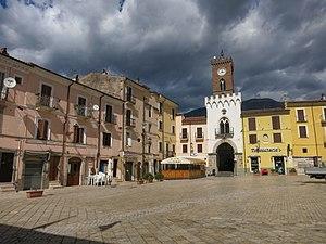 Borgo Velino - Umberto I square with the civic tower