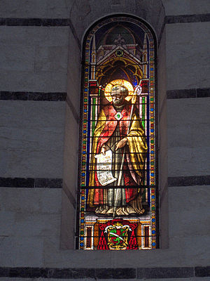 "Guglielmo Botti - ""Saint Bernard"", stained-glass window (1855) in the baptistry of Pisa, Italy"