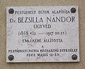 Plaque of Nándor Bezsilla (2002), Adria utca, 2018 Pestújhely.jpg