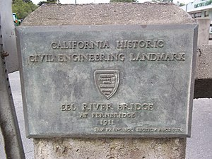 Fernbridge (bridge) -  American Society of Civil Engineers Fernbridge plaque