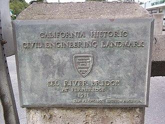 Fernbridge (bridge) -  American Society of Civil Engineers Fernbridge plaque