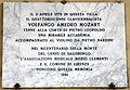 Poggio imperiale, facciata, loggia, lapide mozart 1991.JPG
