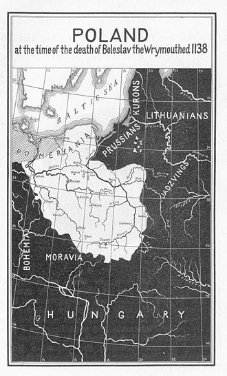 Recovered Territories - Map (published in 1917 in the United States) showing Poland at the death of Boleslaw III in 1138