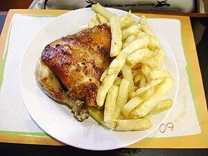 Pollo a la brasa pierna con papas