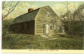 Chester, Connecticut - Image: Postcard Oldest House In Chester Ct 1907