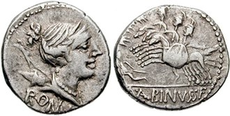 Postumia (gens) - Denarius issued by Aulus Postumius Albinus, moneyer in 96 BC.  The obverse depicts a head of Diana, inscribed Roma, while the reverse features three horsemen trampling a fallen enemy.