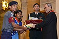 Pranab Mukherjee presented the Bharat Scouts & Guides Awards Certificates for the year 2013, at the presentation of the Rashtrapati Scouts & Guides Awards for the year-2013, at Rashtrapati Bhavan, in New Delhi.jpg