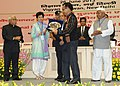 Pranab Mukherjee presented the National Award for outstanding Services in the field of Prevention of Alcoholism and Substance (Drug) Abuse-2013 to the Central Young Mizo Association (NGO), Central YMA Office, Tuikhuahtlang.jpg
