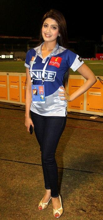 Pranitha Subhash - Image: Pranitha at CCL 3's Chennai Rhinos Vs Karnataka Bulldozers match