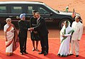 Pratibha Devisingh Patil and the Prime Minister, Dr. Manmohan Singh at the Ceremonial Reception of US President, Mr. Barack Obama and the First Lady Mrs. Michelle Obama, at Rashtrapati Bhawan, in New Delhi (1).jpg