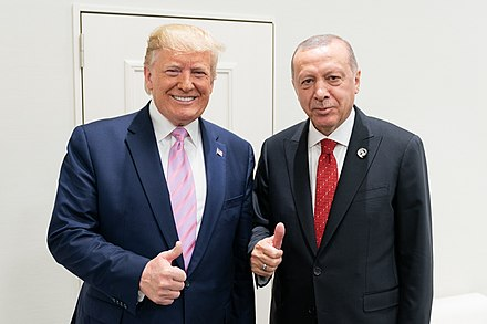 Erdogan with U.S. President Donald Trump in June 2019 President Trump at the G20 (48144080071) (cropped).jpg