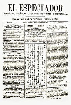 Primera portada de El Espectador , 22 de marzo de 1887