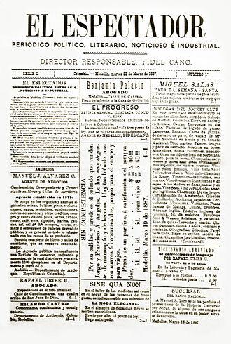 El Espectador - The front page of the first issue of El Espectador, 22 March 1887.