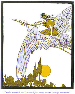 Frank Ver Beck - Ver Beck's illustration of Princess Truella on a stork (1899?) from The Magical Monarch of Mo