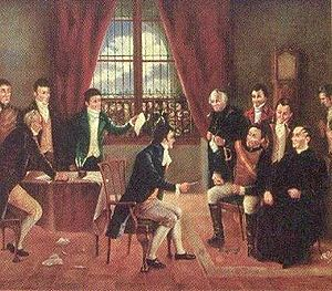 Mariano de Aycinena y Piñol - Signing of the Central America declaration of independence on September 15, 1821. Mariano de Aycinena is sitting at the center of this painting of Rafael Beltranena.