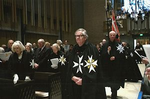 Order of St John in the United States - Former Lord Prior of the Most Venerable Order of the Hospital of Saint John of Jerusalem Anthony Mellows frequently attended the Priory in the USA's annual investiture service. He is shown here at the service in October 2015 in Dallas, Texas.