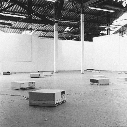 Maurizio Bolognini, Programmed Machines (Nice, France, 1992-97). An installation at the intersection of digital art and conceptual art (computers are programmed to generate flows of random images which nobody would see). Programmed Machines installation by Maurizio Bolognini.jpg