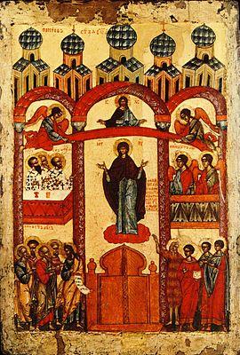 Икона «Покров Пресвятой Богородицы» (Новгород, 1401—1425 годы. Государственная Третьяковская галерея)