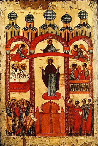 October 28 (Eastern Orthodox liturgics) - Image: Protection de la Mere de Dieu Ecole de Novgorod Moscou, Galerie Tretiakov