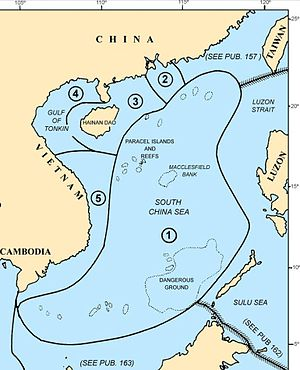 Dangerous Ground (South China Sea) - Map of the South China Sea area showing the location of Dangerous Ground