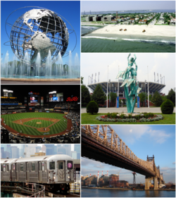 Clockwise frae top-left: Unisphere, Rockaway Park beach, US Open's Billie Jean King National Tennis Center, Queensboro Bridge, Queens-bund 7 train, New York Mets—Citi Field.