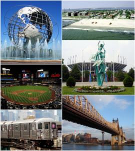 Clockwise from top-left: Unisphere, Rockaway Park beach, US Open's Billie Jean King National Tennis Center, Queensboro Bridge, Queens-bound 7 train, New York Mets—Citi Field.