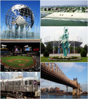 Queens - Clockwise from top-left: Unisphere, Rockaway Park beach, US Open's Billie Jean King National Tennis Center, Queensboro Bridge, Flushing-bound 7 train, New York Mets—Citi Field.