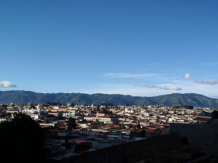 Skyline of Quetzaltenango from the surrounding mountainside in 2009. Quetzaltenango skyline 2009.JPG