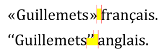 Quotation mark - Blank space (in yellow) provoked by elevated quotation marks; some type designers consider this excessive.