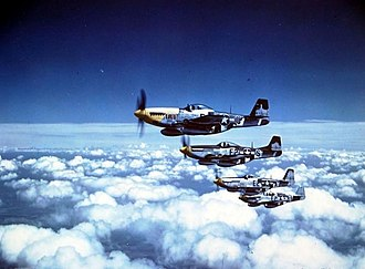 "RAF Bottisham - ""The Bottisham Four"", four USAAF North American P-51 Mustang fighters from the 375th Fighter Squadron, 361st Fighter Group, from RAF Bottisham, Cambridgeshire (UK), in flight on 26 July 1944. All four aircraft were lost or crashed by the end of the war in Europe."