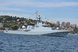 River-class patrol vessel - HTMS Krabi is a 90-metre variant of the BAE Offshore Patrol Vessel in service with the Royal Thai Navy