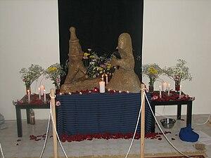 Heathenry in Canada - Idols of Freyr and Freyja built by Rúnatýr Kindred for their Summerfinding blót.