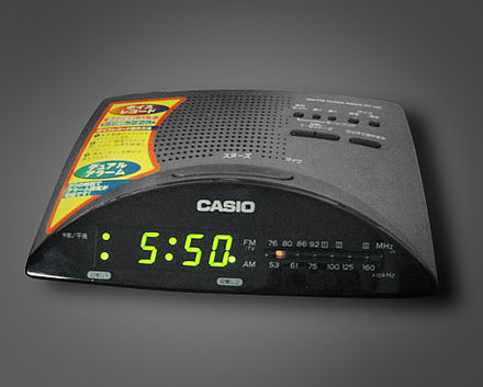 A bedside clock radio that combines a radio receiver with an alarm clock. Radio-with-Alarm clock.jpg