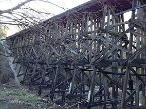 Tanyard Creek Park - Trestle bridge crossing Tanyard Creek, marking the south end of Tanyard Creek Park