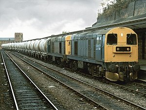 British Rail Class 20 - Two Class 20s coupled nose to nose hauling a freight train in 1986