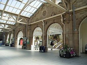 Sheffield station - The interior stonework and iron roof on the station concourse