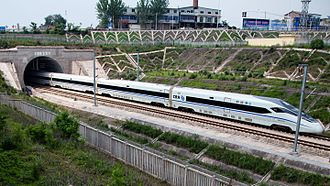Chengdu–Chongqing intercity railway - A CRH380D train on Chengdu–Chongqing HSR, taken in Jianyang, Sichuan