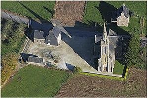 Vue aérienne de l'église de Rancoudray.