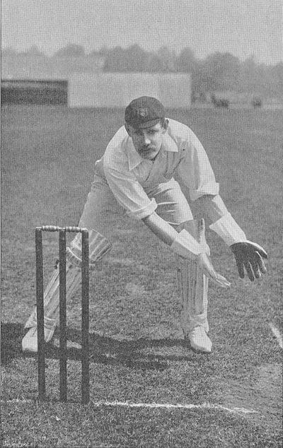 Ranji 1897 page 040 Storer taking a ball wide on the leg-side.jpg