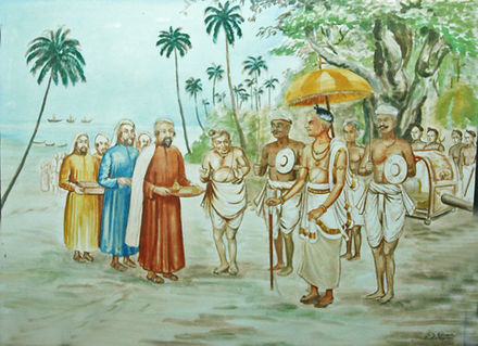 Arrival of the Jewish pilgrims at Cochin, A.D. 68 Receiving jews.jpg