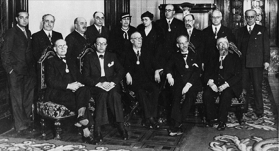 Recepción de Castelao na Real Academia Galega, A Coruña, 25 de xullo de 1934